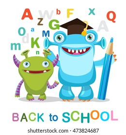 Two Funny Monsters And Text Back To School On A White Background  Vector Illustrations.