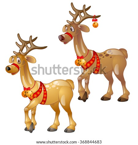 two funny reindeer with christmas decorations vector - Metal Reindeer Christmas Decorations