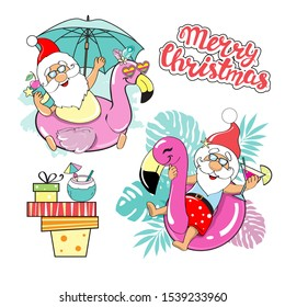 Two funny santa claus lie on an inflatable flamingo and the inscription merry christmas on a white background