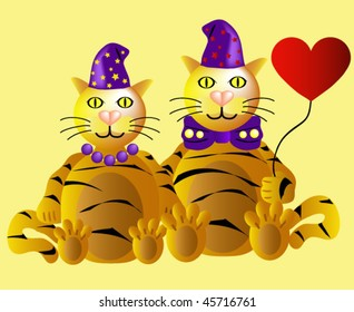 Two funny tigers in love at Valentine's Day