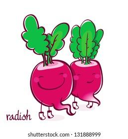 Two funny vector radish smiling