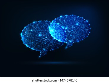 Two futuristic glowing low polygonal speech bubbles made of stars, lines, dots isolated on dark blue background. Communication, chatting, dialogue concept. Modern wireframe design vector illustration.