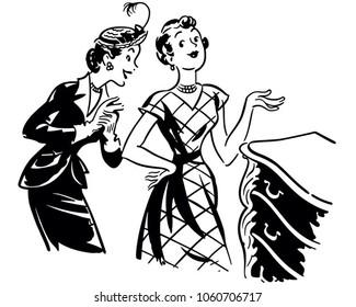 Two Gals With Antique Dresser - Retro Clip Art Illustration