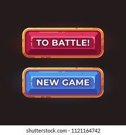 Two game buttons flat illustration. Game interface elements.