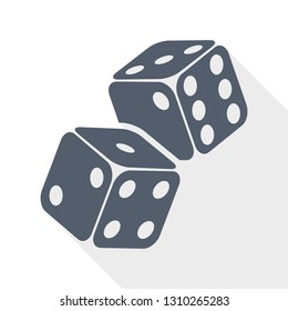 Two game dices on flight. Casino gambling concept flat design vector icon.