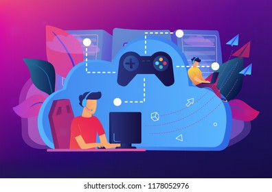 Two gamers playing computer connected with joystick. Gaming on demand, video and file streaming, cloud technology, various devices gaming concept, violet palette. Vector isolated illustration.