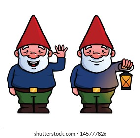 Two garden gnomes, one waving and one holding a lamp.