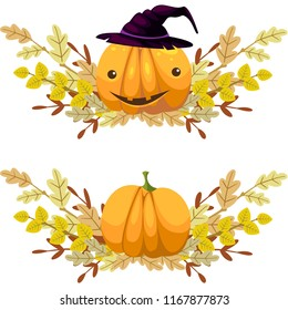 Two garlands of autumn branches with leaves. With a pumpkin - head jack. Vector.