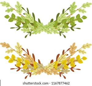 Two garlands of spring and autumn branches with leaves. Vector.