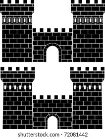two gates. stencil. vector illustration