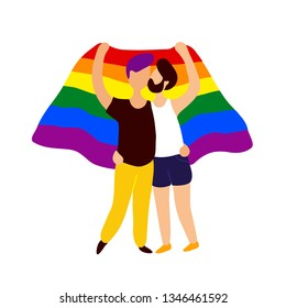Two gay people kissing under rainbow flag.  Vector flat trendy style illustration. Isolated on white background. Gay parade, lgbtq pride concept.