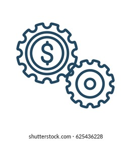 Two gears with dollar sign inside vector icon in meaning Working Capital