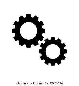two gears icon vector symbol on white background.