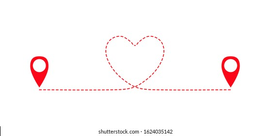 Two geolocation signs connected with heart route. Connecting lovers. Long distance relationship. Love knows no distance. Happy Valentine's day card. Vector illustration.