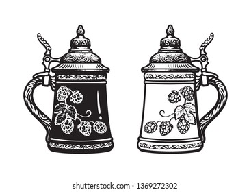 Two German stein beer mugs. Black and white. Hand drawn vector illustration isolated on white backgraund. Brewery, beer festival, bar, pub design.