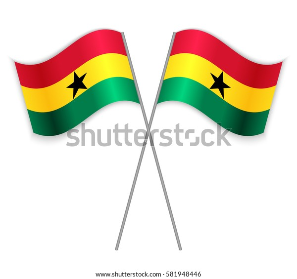 Two Ghanaian crossed flags. Combined Ghana isolated on white. Language learning, international business or travel concept.