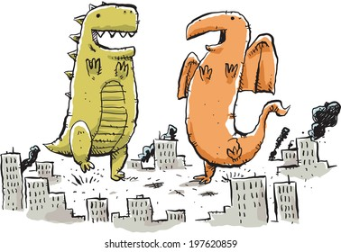 Two giant, cartoon monster dance in the middle of a city.