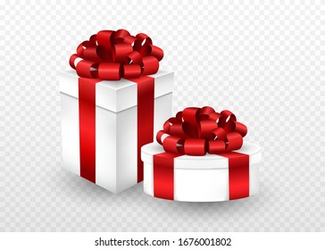 Two gift boxes of different shapes wrapped in a red ribbon and bow on top. 3d style isolated - greeting present package in vector illustration.