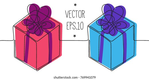 two gift boxes. men and woman. girl and boy. presents. surprises. one line. continuous line. gift for him and her, holiday package. blue and pink. over print vector