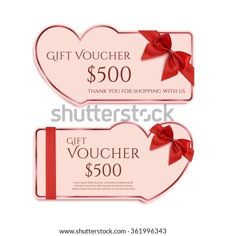 Two Gift Card Template Red Ribbon Stock Vector Royalty Free