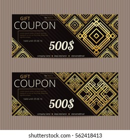 Two gift vouchers in luxury style. Vector discount cards. Aztec gold tiles. Golden and silver ornament.