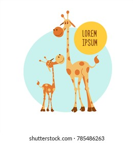 Two giraffe. Vector illustration. Cute cartoon giraffe, big giraffe and little giraffe baby. The African animals. Isolated on white background