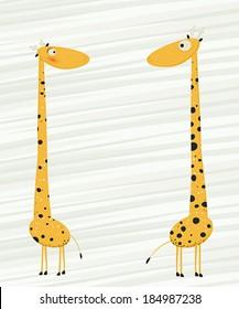 Two giraffes falling in love cartoon