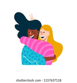Two girl friends hugging and smiling together. Diverse happy friend illustration on isolated background. EPS10 vector.
