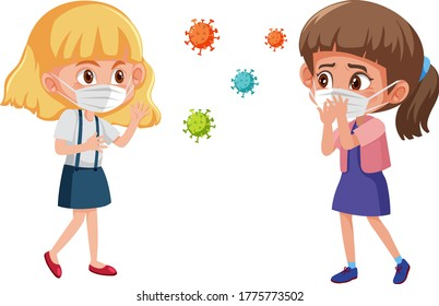 Two girl wearing mask in standing position with some coronavirus icon illustration