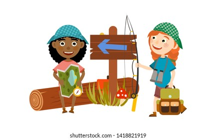 Two girls with backpacks, vests and bandanas are looking for a way with the help of a map and a compass. Camping and children's summer camp. Cute Vector Illustration