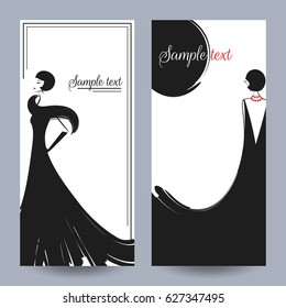 Two girls in beautiful vintage dresses. Retro party invitation card. Vector illustration. Art Deco style