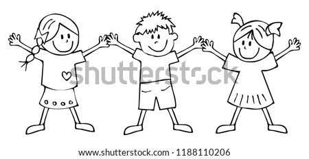 Two Girls Boy Coloring Book Children Stock Vector (Royalty Free ...