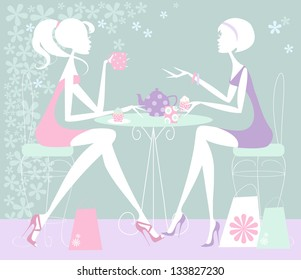Two Girls chatting over cup of tea Pastel illustration of two women taking a shopping break, and chatting in cafe with mugs of tea and cupcakes