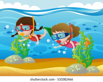 Two girls diving under the sea illustration