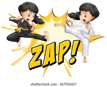 Two girls doing martial arts illustration