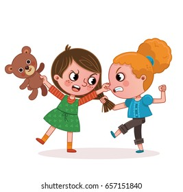 Two Girls Fighting (Vector illustration)