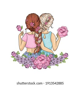 Two girls, friends, sisters, hugging with their hair woven in flowers