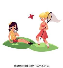 Two girls having fun in summer, one catching butterflies, another studying flowers, cartoon vector illustration isolated on white background. Entomologist and botanist girls on summer vacation