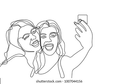 Two girls making selfie. Continuous line drawing. Linear women faces.