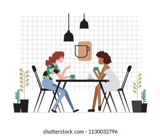 Two girls or pair of female friends sitting at table, drinking coffee and talking. Friendly meeting and conversation at cafe. Cute cartoon characters. Colorful vector illustration in flat style