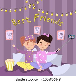 Two girls in pajamas making selfie while sitting on the bed, kids in pajamas at slumber party. Best friends vector illustration, cartoon style design element for poster or banner