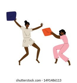 Two Girls in Pajamas Playing Pillow Fight at Slumber Party Vector Illustration