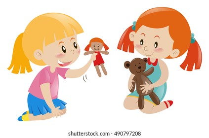Two girls playing doll and teddy bear illustration