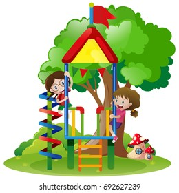 Two girls playing in playground illustration