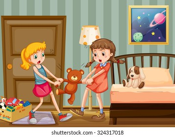Two girls pulling teddy bear in bedroom illustration