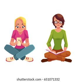 Two girls siting crossed legs, one reading book, another using mobile phone, cartoon vector illustration isolated on white background. Girls women using analogue and digital media sitting on the floor