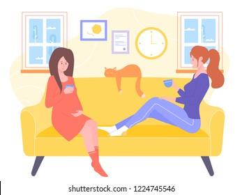 Two Friends On Sofa Stock Vectors Images Vector Art Shutterstock