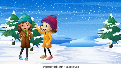 Two girls standing on snow field illustration