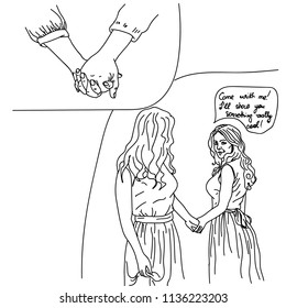two girls take each other hand love and speak comics style lines