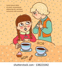 Two girls with tea or coffee. Talk. Friends. Cartoons character. Doodle. Frame for text.